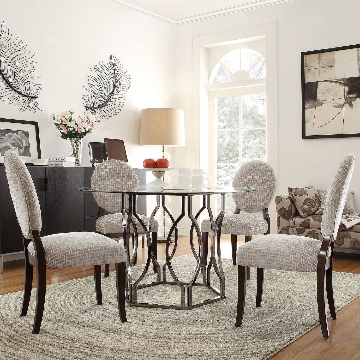 Enhance Your Modern Dining Room Decor With The Kona Piece Dining - Hexagon glass dining table