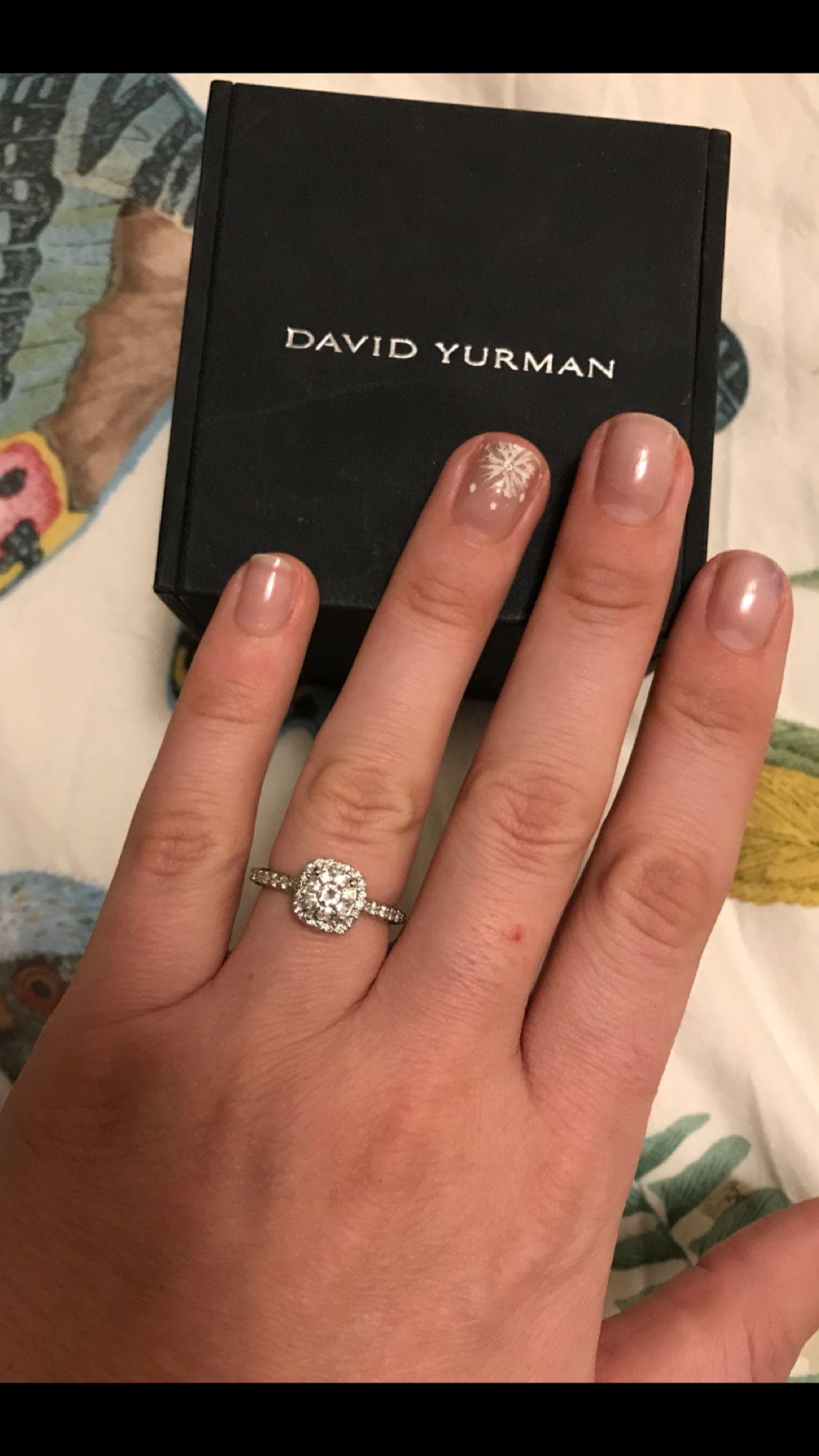 My Engagement Ring David Yurman Capri Platinum Cushion Halo With