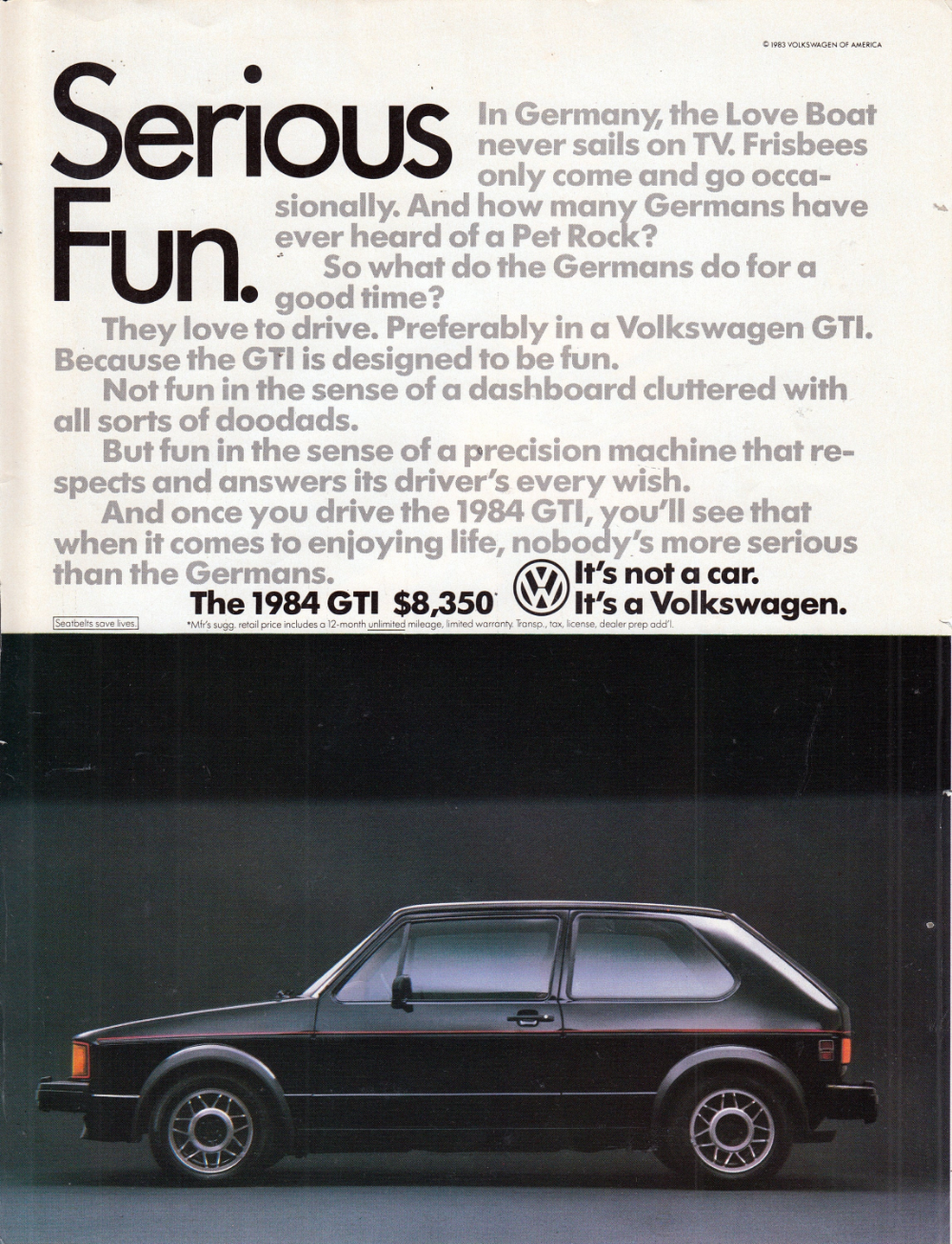 1984 Vw Gti Volkswagen Serious Fun Not A Car Cost Etsy Volkswagen Gti Volkswagen Gti