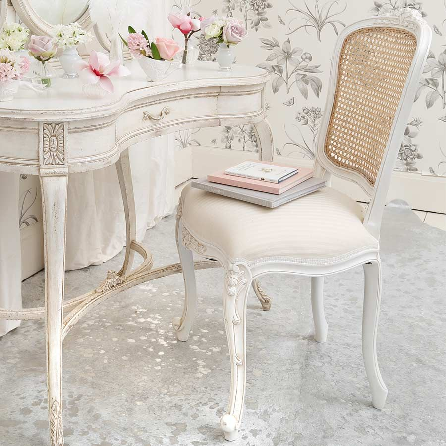 NEW! Provencal White French Chair  Vintage bedroom chair, French