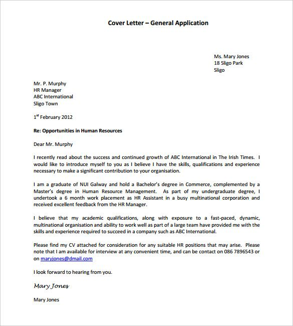 General Application Cover Letter Template Pdf Format Employment