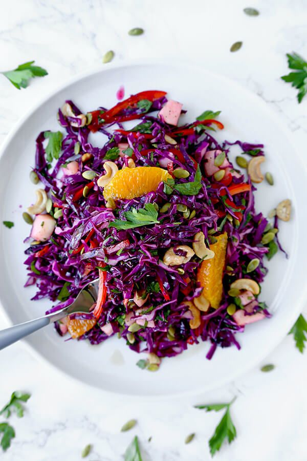 Detox Red Cabbage Slaw Make Yourself A Sunny And Breezy Detox Red Cabbage Slaw For Dinner Tonight This Beach Body Red Cabbage Slaw Cabbage Smoothie Cabbage