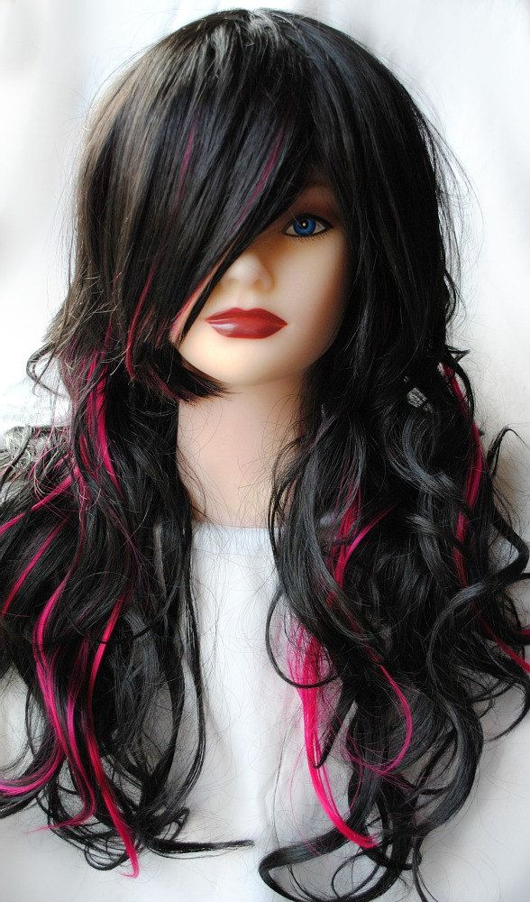 blackberry wig black pink long