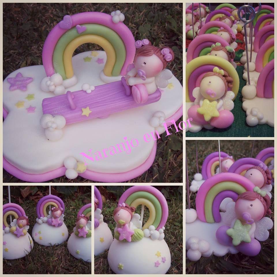 Adorno para torta y souvenirs para niña.
