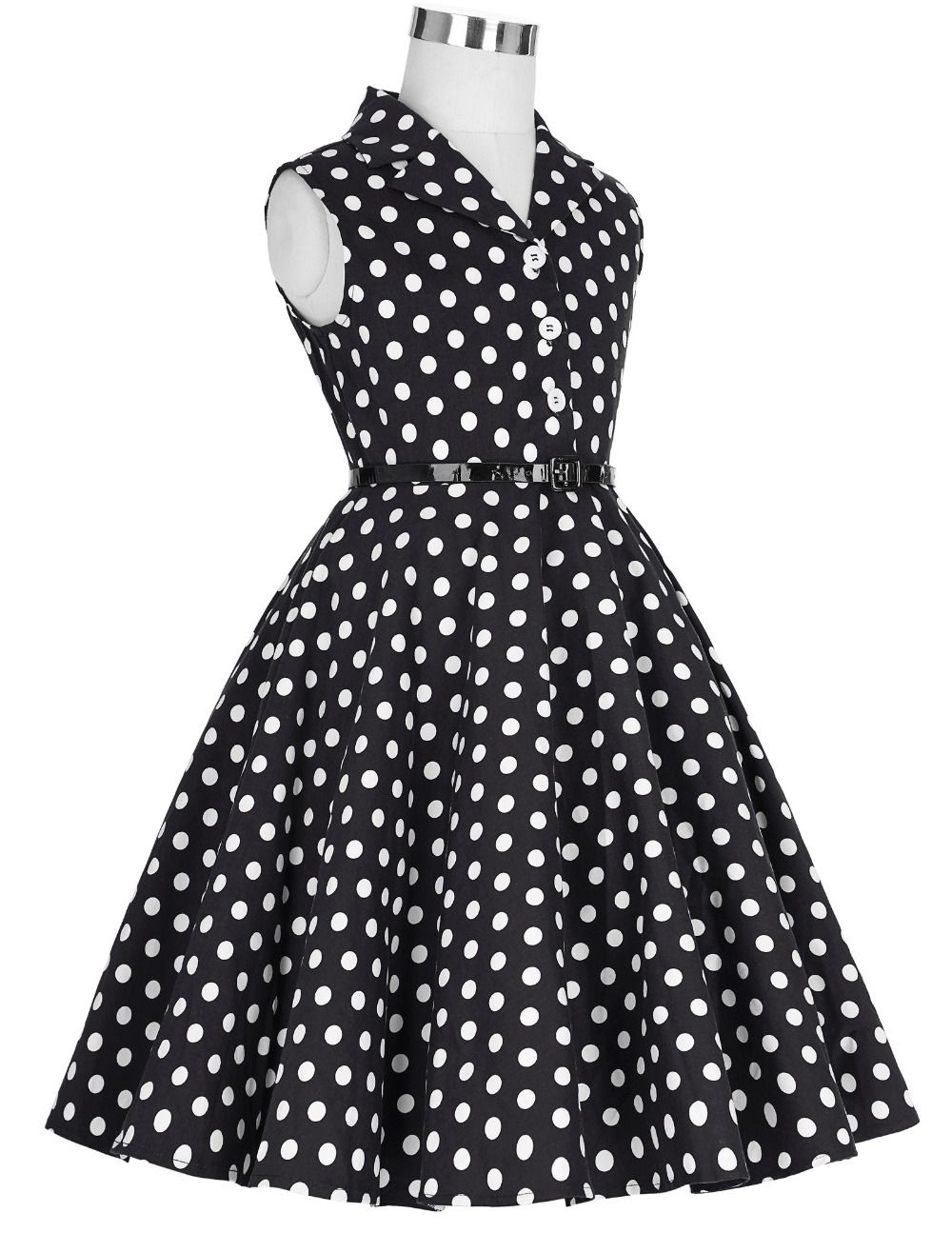 Sleeveless Polka Dots Printed Vintage Pin Up Style Flower Girl Dress