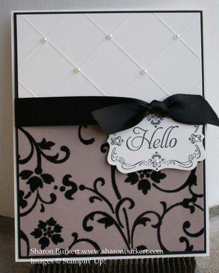 Simple but beautiful card embossed using SU diagonal scoring plate.