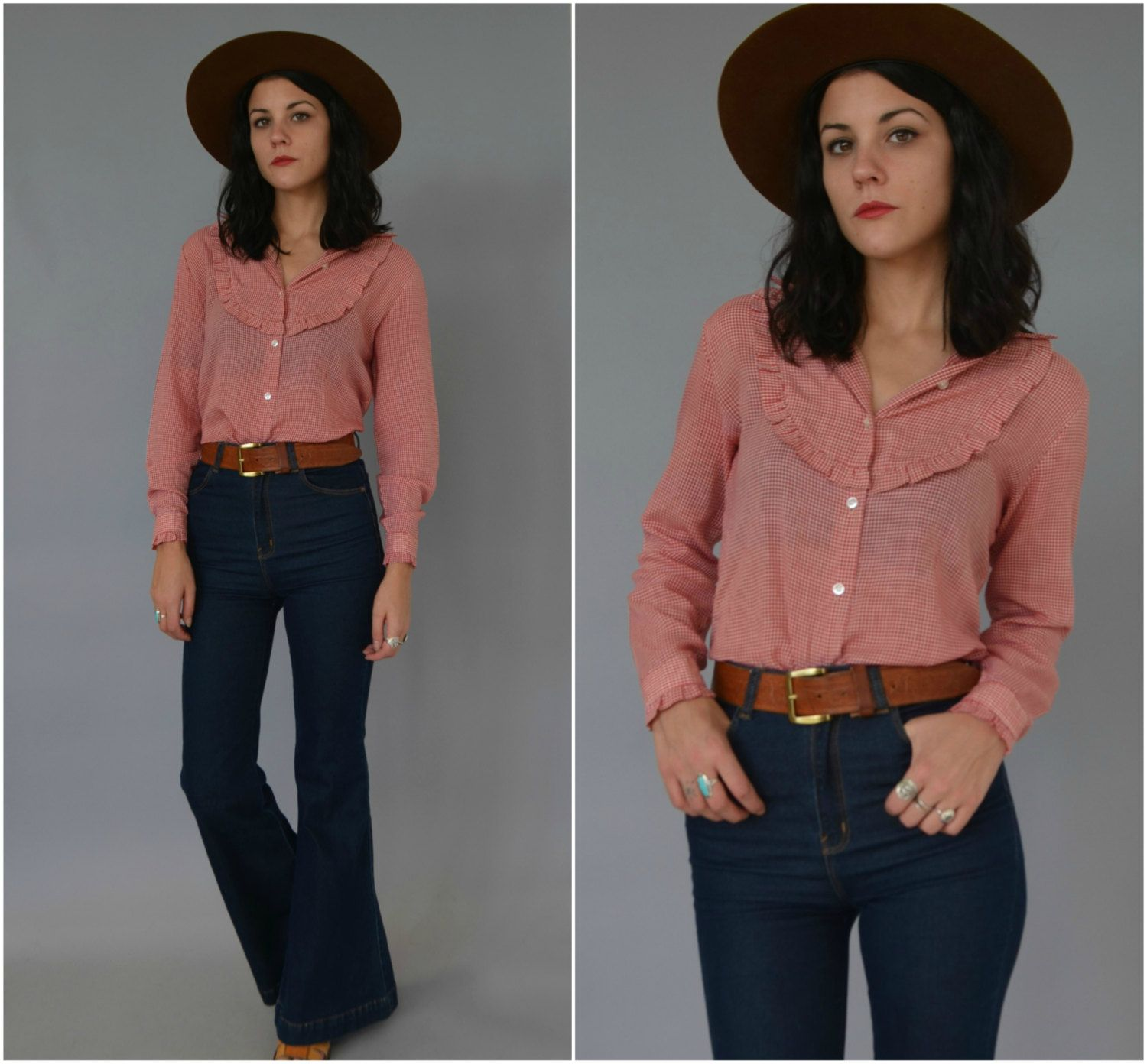 1970s soft and thin gingham western shirt by BluejeanbabyVTG