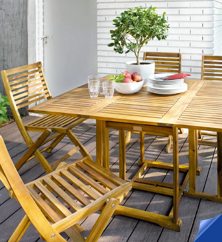 Mesa plegable en madera de acacia los mejores precios en for Mesas de madera precios