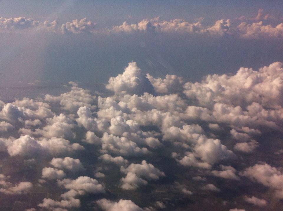 A shot of clouds during flight to Veracruz from Houston.