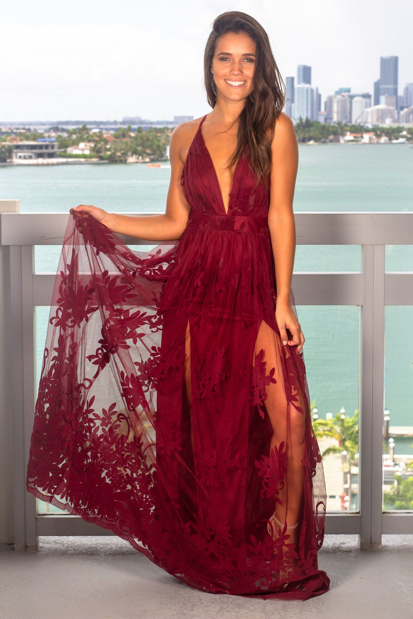 Wine Floral Tulle Maxi Dress With Criss Cross Back Maxi Dress Floral Maxi Dress Dresses
