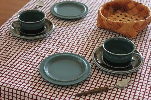 ARABIA / MERI (Meri) teetäkuppi ARABIA / BLUERUSKA 16cm lautanen Marimekko / TASAUS vintage kangas