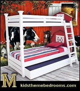 Uniquely Designed Bunk Bed Is Inspired In Design By The Famous American Barn The Headboards Include Baby Boy Bedroom Boys Bedroom Themes Baby Barnyard Nursery