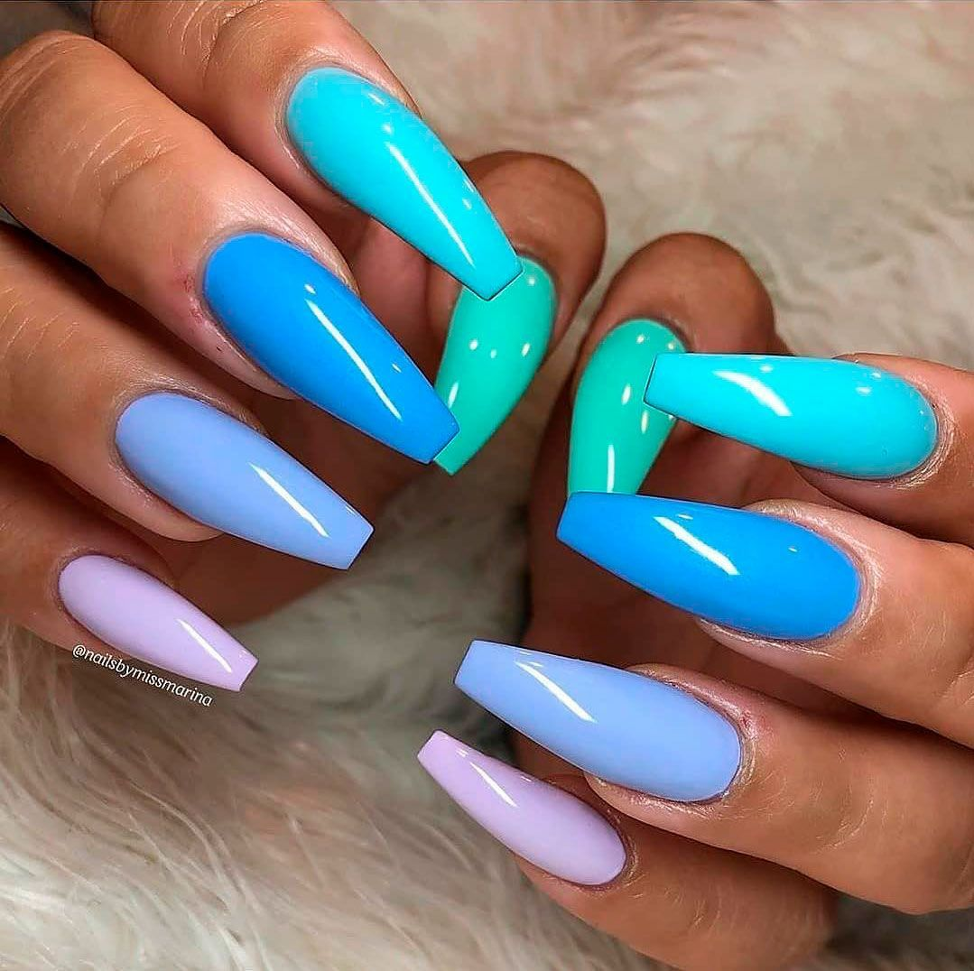 Cute Different Color Nails Acrylic For Summertime In 2020 Multicolored Nails Cute Acrylic Nails Nail Designs