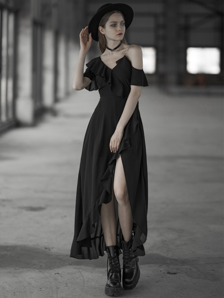 PUNK RAVE BLACK GOTHIC CHIFFON FLOUNCING LONG DRESS