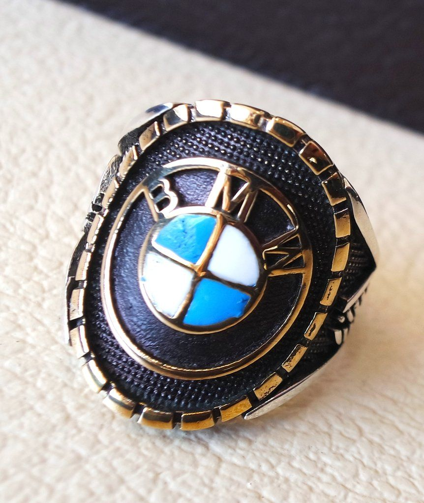 BMW sterling silver 925 and bronze heavy man ring all sizes