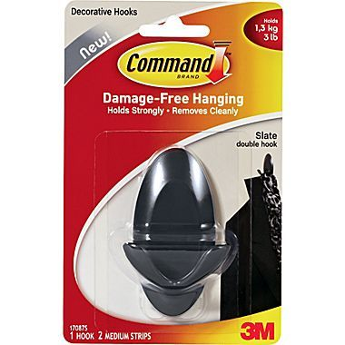 Command Double Hook Slate 17087ses Slate Decorative Hooks Over The Door Hooks