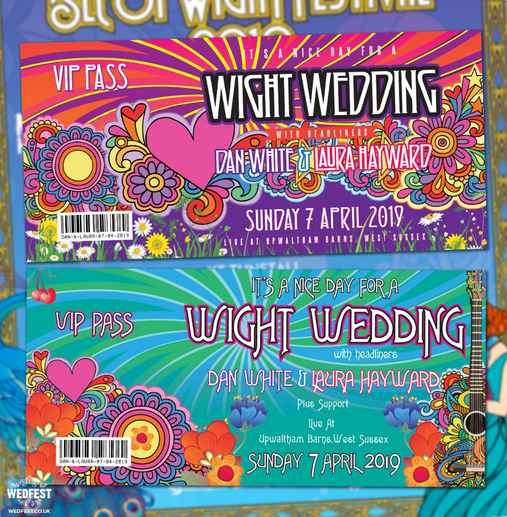 Wight Festival Themed Wedding Invites