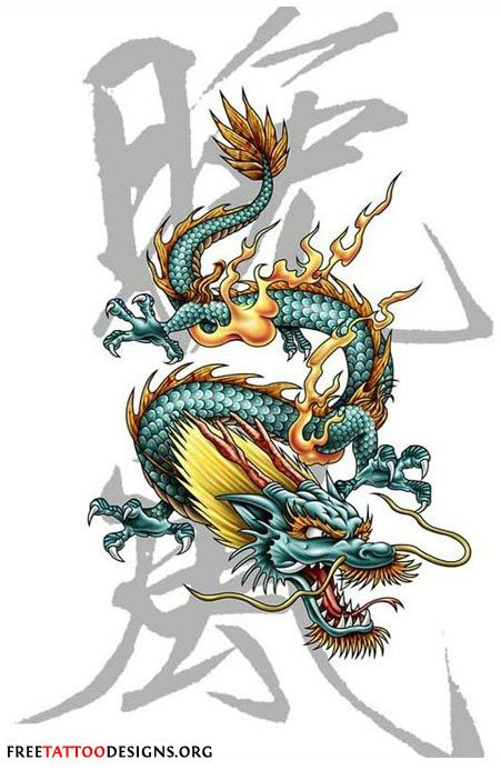 Tattoo design of a Chinese dragon with kanji on the background