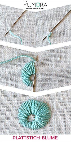Plattstich Blumen sticken - der Allrounder - Pumora #ribbonart
