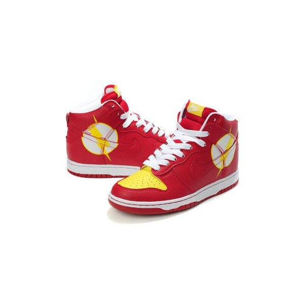 new product 496cc 366a7 Nike Dunks DC Comics Character Shoes The Flash Nikes... via Polyvore