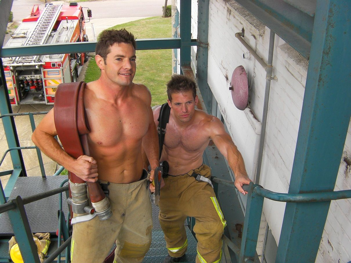 Naked male fire fighters