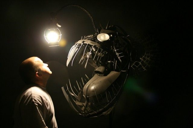 Terrifying Deep Sea Angler Lamp Made from Recycled Objects