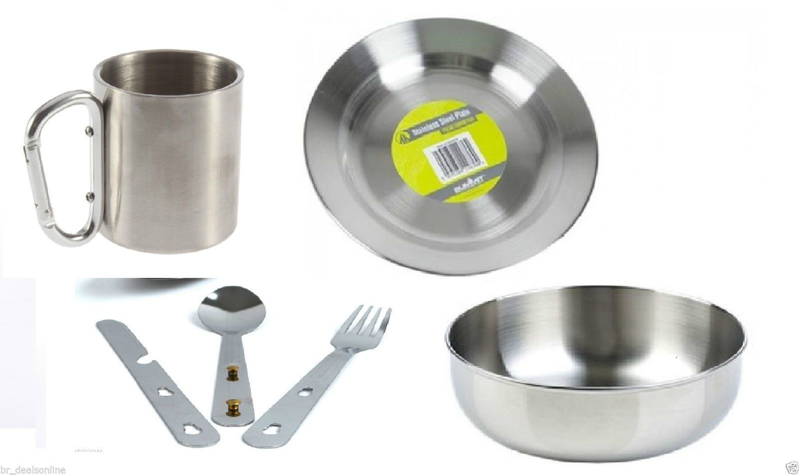 Stainless #steel plate, bowl, #carabiner mug  & #cutlery set 4in1 camping picnic,  View more on the LINK: 	http://www.zeppy.io/product/gb/2/162374964272/