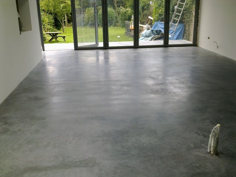 polished concrete floor in house with natural power float concrete floors house oxted 3