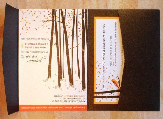 SAMPLE Fall Forest Wedding Invitation with Love Bird, Pocketfold - sample wedding brochure