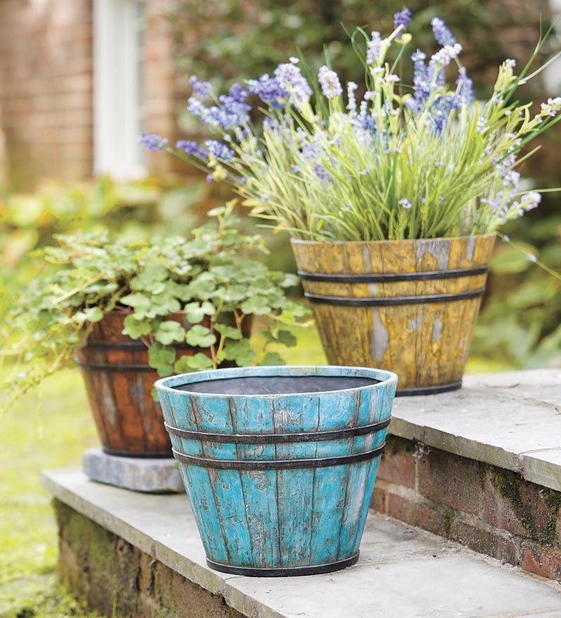 Faux Wooden Bucket Planters Look Like Found Pots Resin Style Looks Like Distressed Wood Bucket Planters Planters Planter Gift