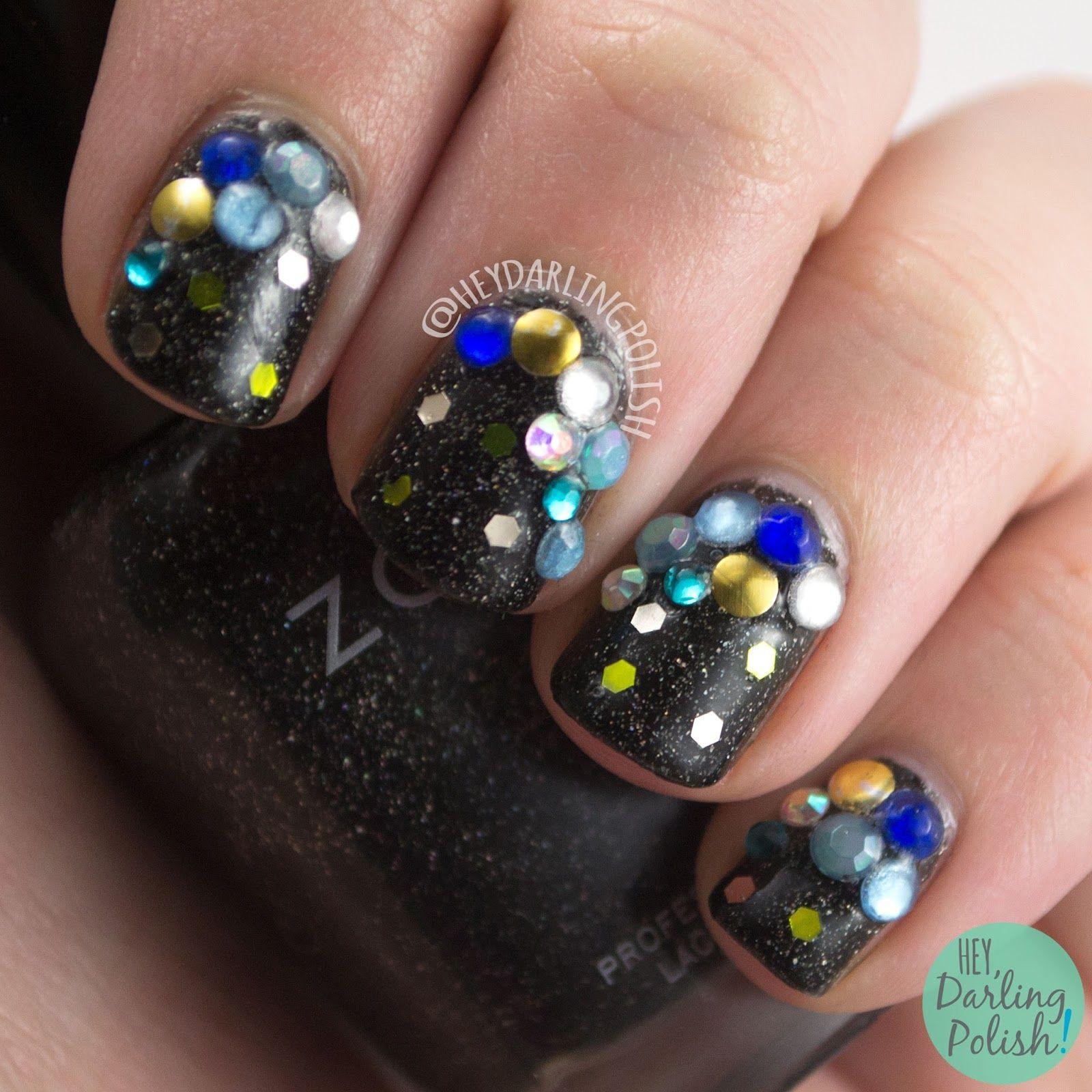 #nails, #nailart, #nailpolish, #heydarlingpolish, #rhinestones, #glequins, #sparkle,