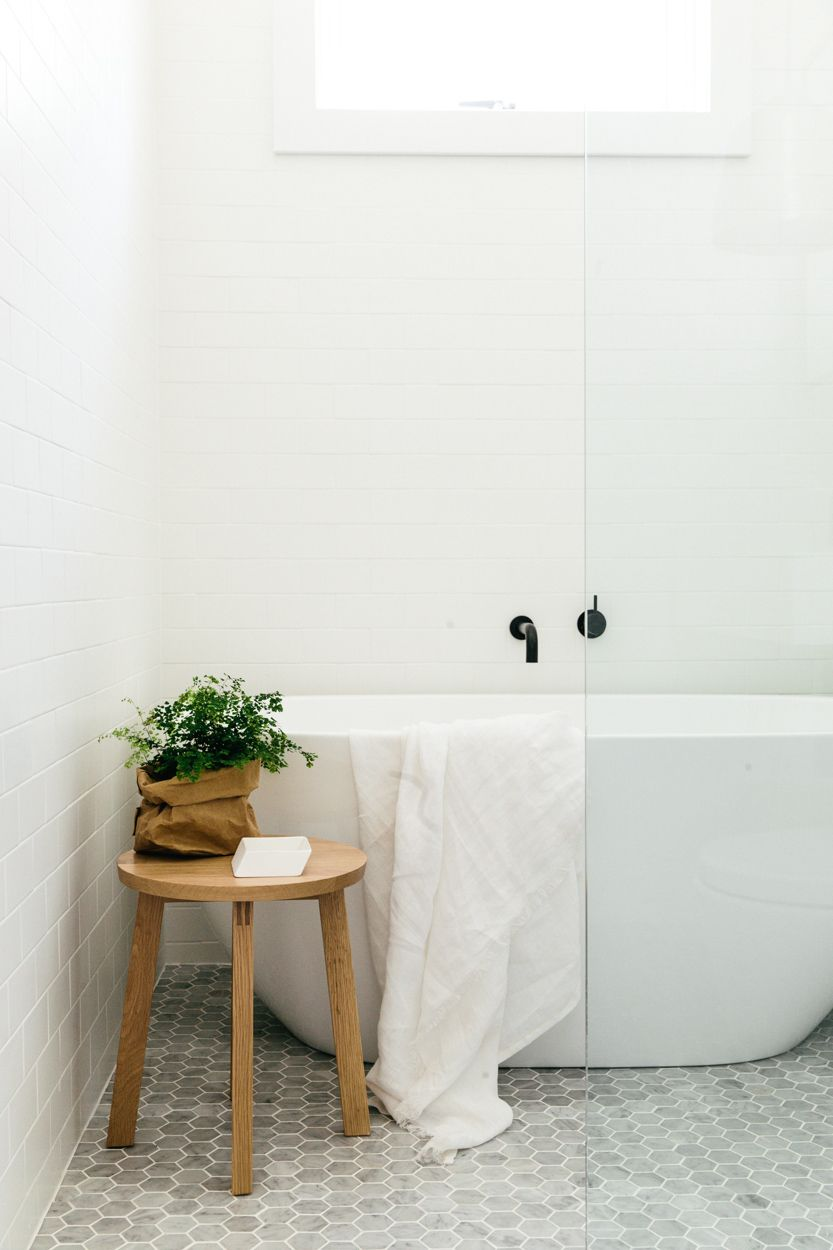 Bathroom with subway tiles marble hexagon mosaic tile floor with bathroom with subway tiles marble hexagon mosaic tile floor with white grout cross street dailygadgetfo Gallery