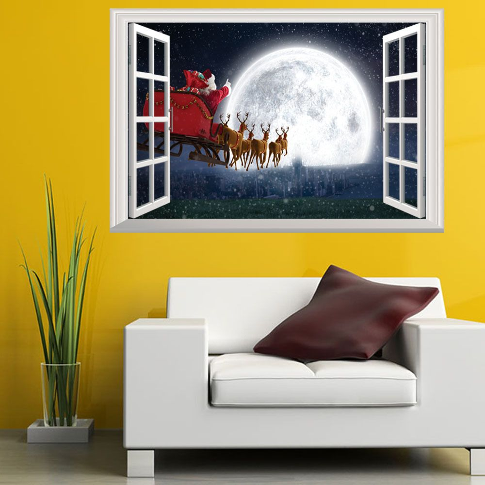 Christmas Wall Stickers Santa Claus Night View Children \'s House ...