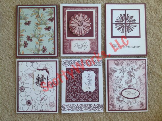 Set of six Handcrafted Notecards hand crafted from the heart by ScottyWorks, $16.50