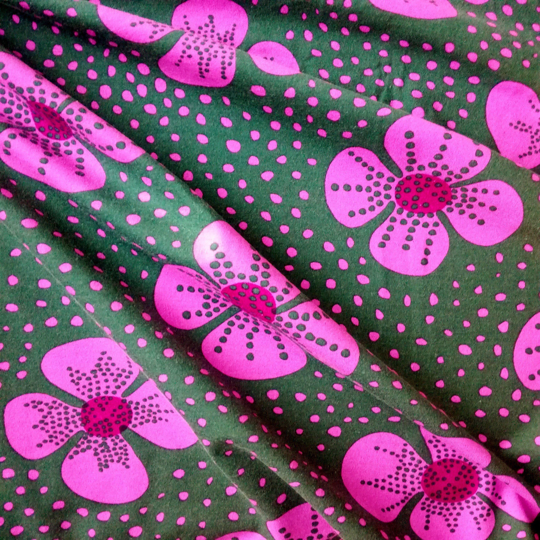 1813174b180 Marimekko Jersey Knit Fabric Piece - Floral - Moss Pink in 2019 ...
