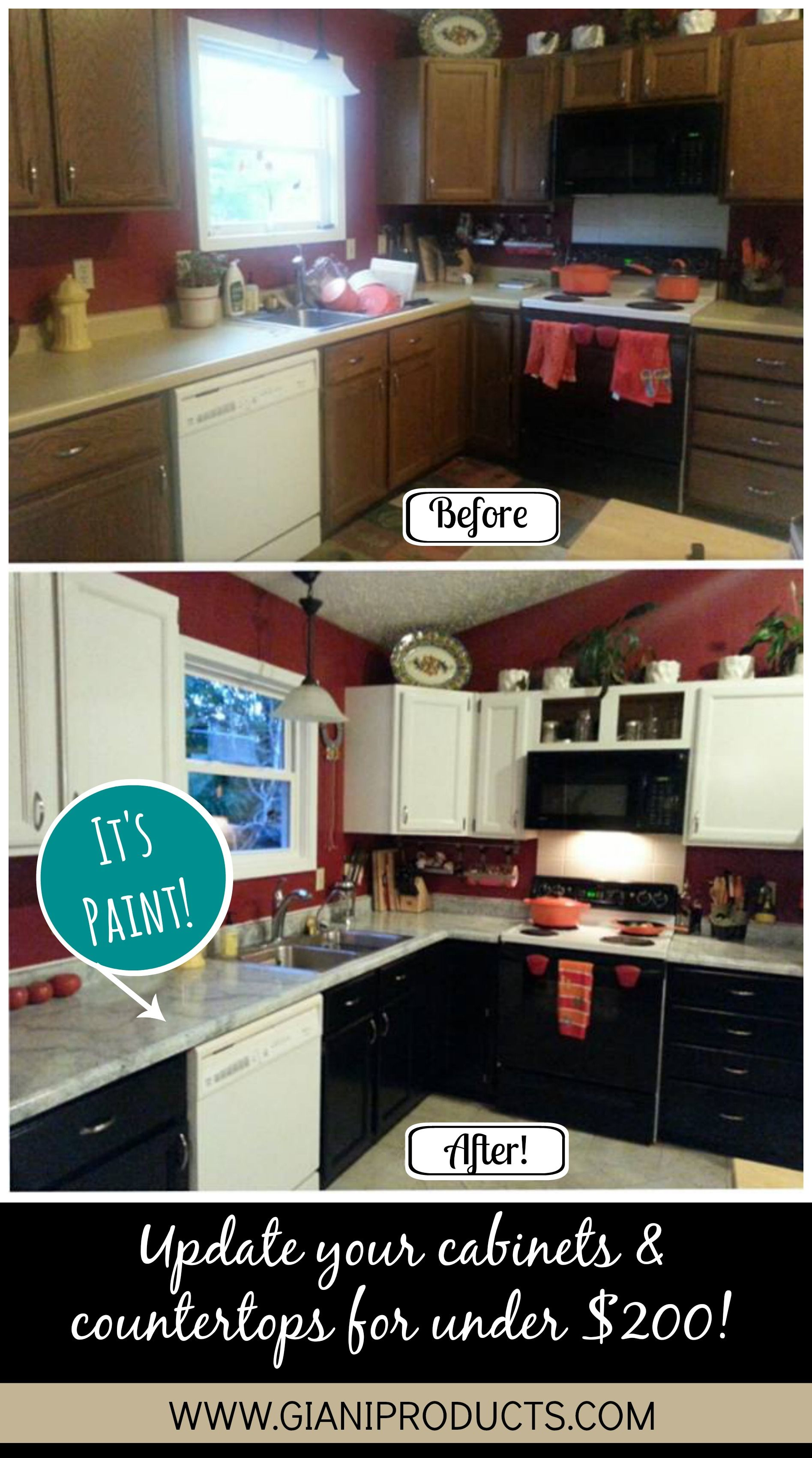 Budget Friendly Two Toned Kitchen Makeover Diy Countertop Paint