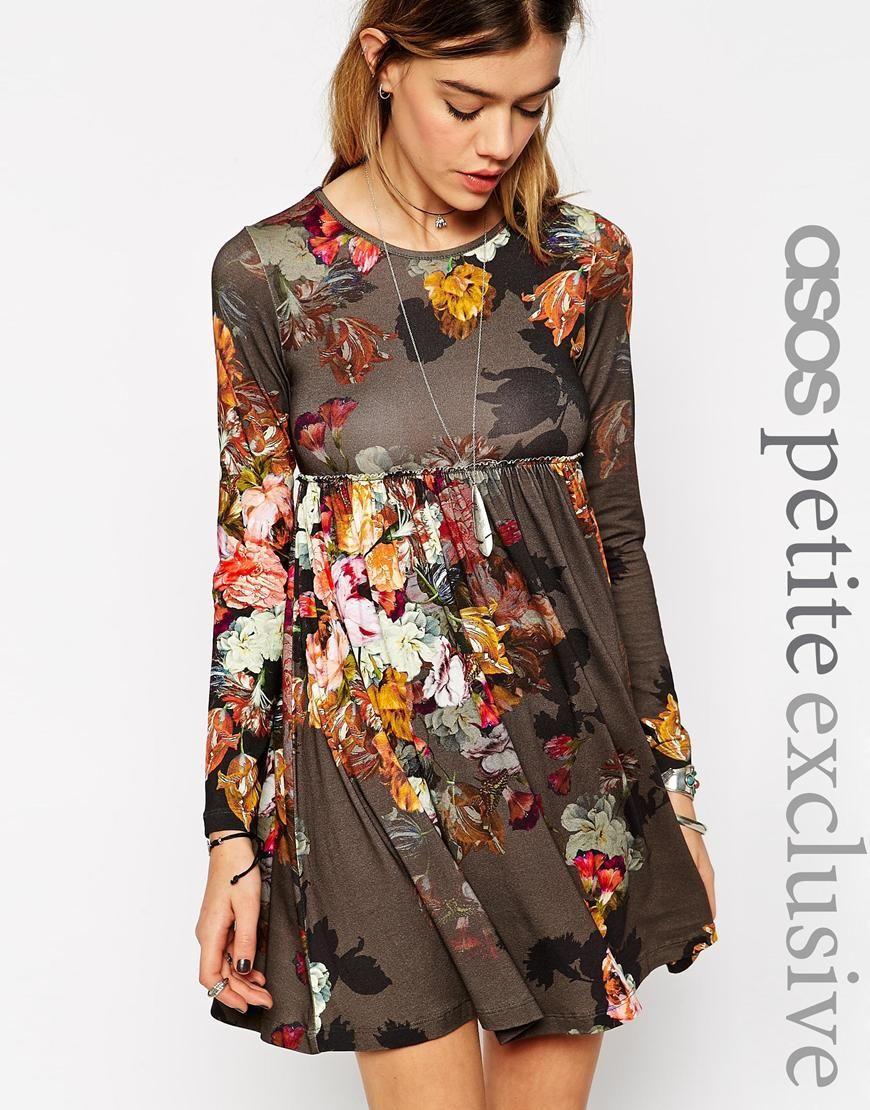 image 1 asos petite robe babydoll fleurie manches. Black Bedroom Furniture Sets. Home Design Ideas