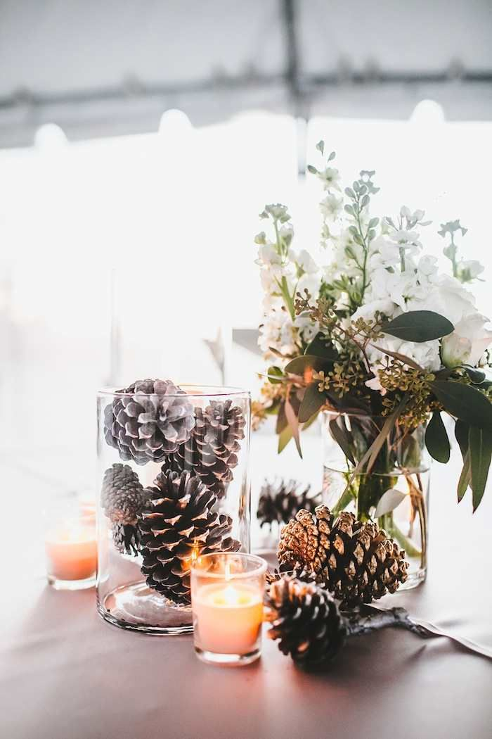 Winter wedding with diy details centerpiece