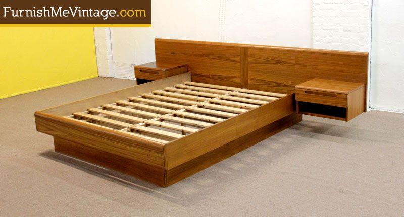 Vintage Danish Teak Queen Platform Bed Queen Platform Bed