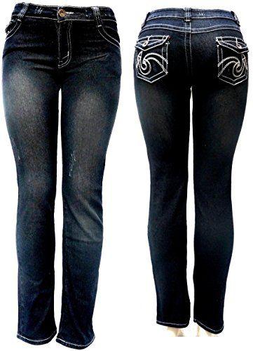498054f94d428 Jack-D Womens Juniors Luscious Curvy Basic Bootcut /Straight Denim Jeans  Stretch (0, black-B-910B)