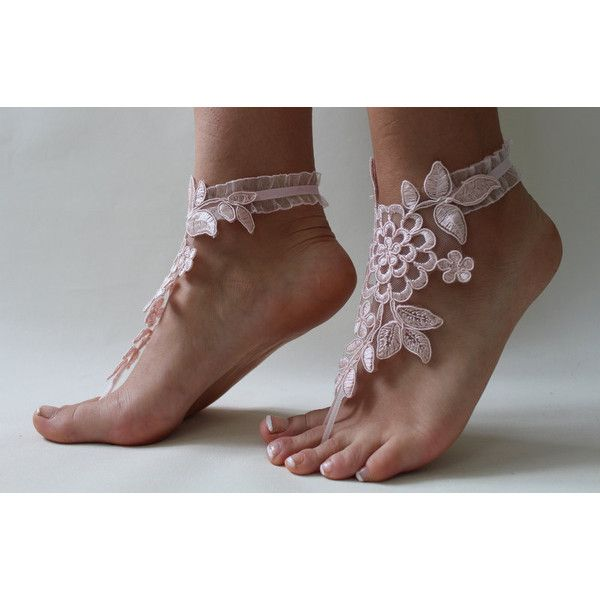 Beach WeddingBarefoot SandalsPink Lace Bridal AnkletWedding