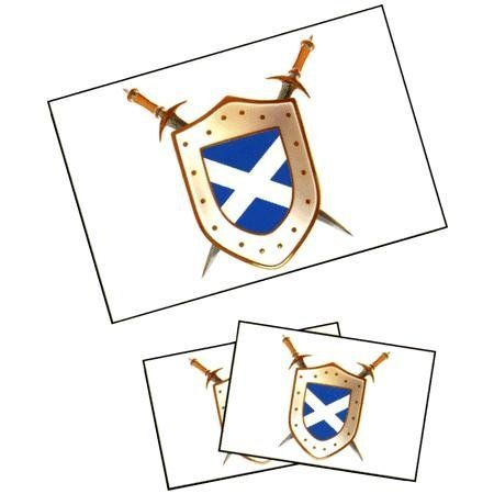 Scotland With Cross Shield Tattoos by Innovative Ideas. $1.50. Chrome. 4x7. Temporary Tattoo. In Stock. Express yourself with temporary tattoos. These temporary tattoos of Scotland flag shields apply easily and are safe and non-toxic. They are made with FDA approved inks and last for days. There are 3 tattoos -- 1 is 2.25x2.25 inches are 2 are 1.25x1.25 inches. Sizes are approximate.. Save 50%!