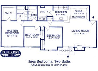 Floor Plan Layouts For And 3 Bedroom Apartments From Blueberry Hill  Apartment Homes.