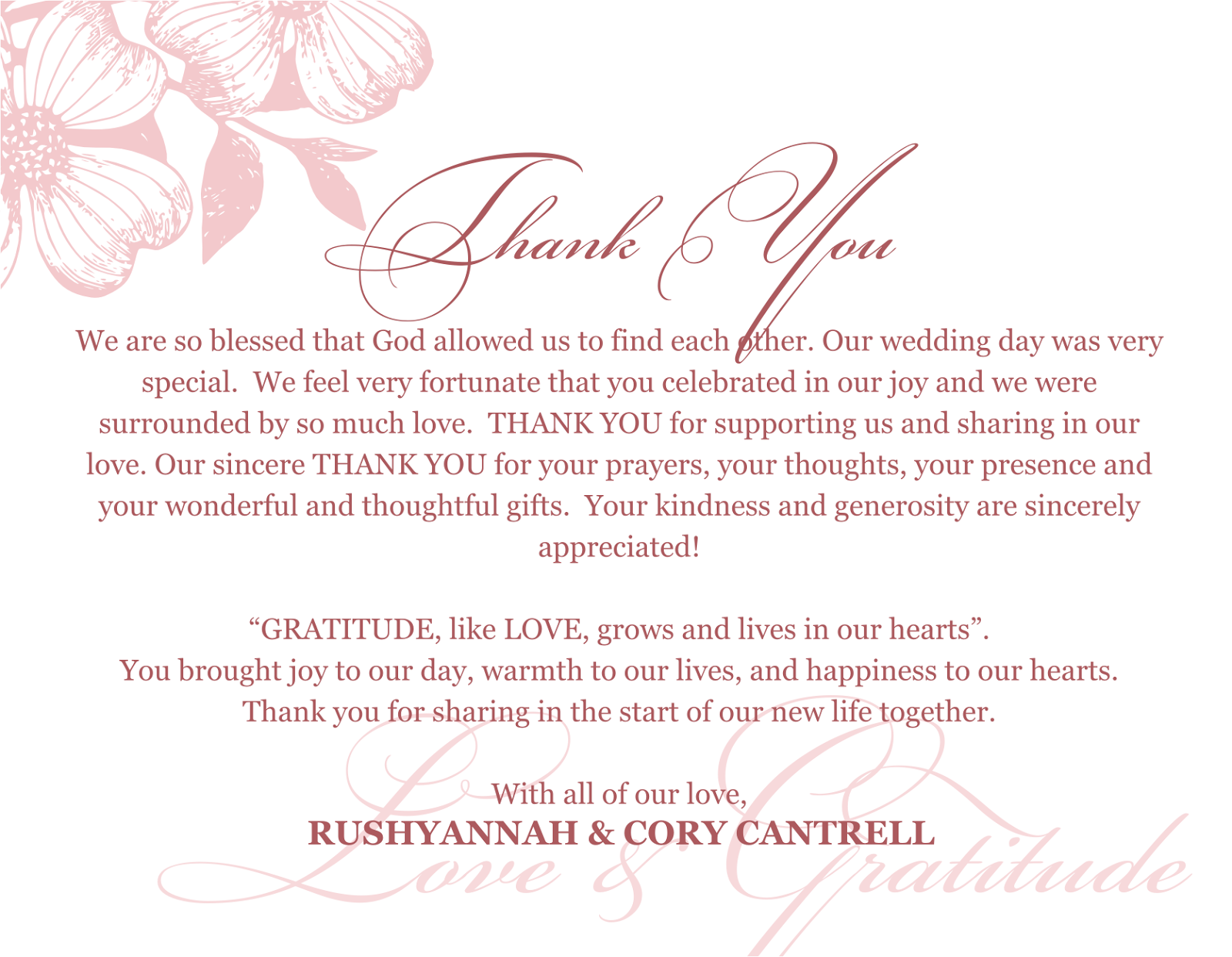 weddingthankyoucardsayingspng Thank you notes – What to Write in Wedding Thank You Cards Sample
