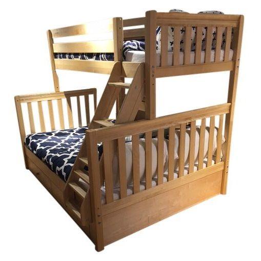 Natural Twin over Queen Bunk Bed Queen bunk beds