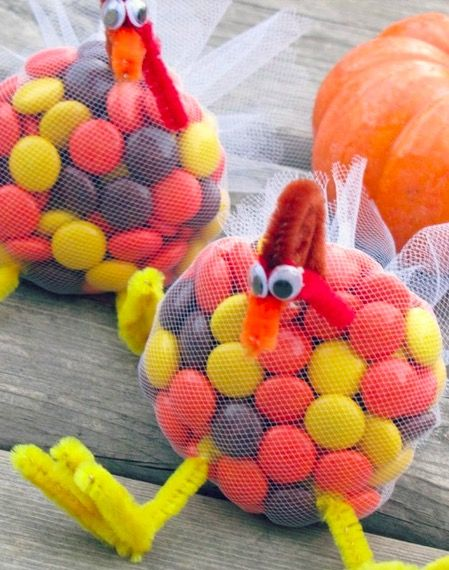 Turkey Treats - Recipe, Desserts, Candy, M&Ms, Reese's Pieces, Skittles, Thanksgiving
