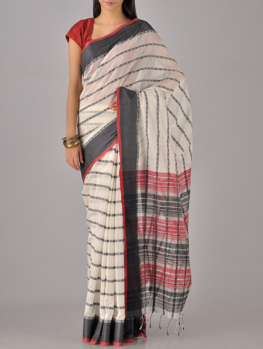 Off white tussar silk saree buy ivory stripe cotton silk saree online  silk sarees saree and ivory