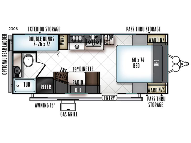 Floorplan 2019 Rockwood Mini Lite 2306 Travel Trailer