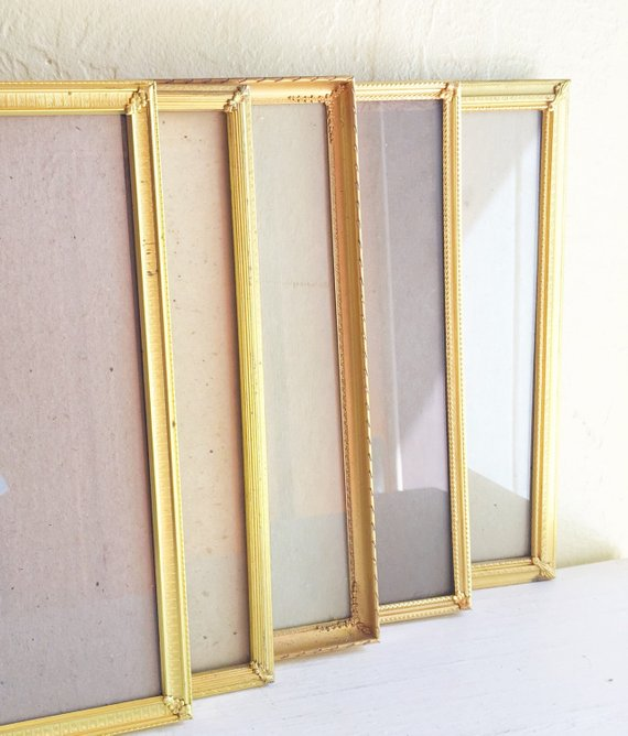 Set Of 8x10 Unique Filigree Corner Bright Gold Metal Picture Frames