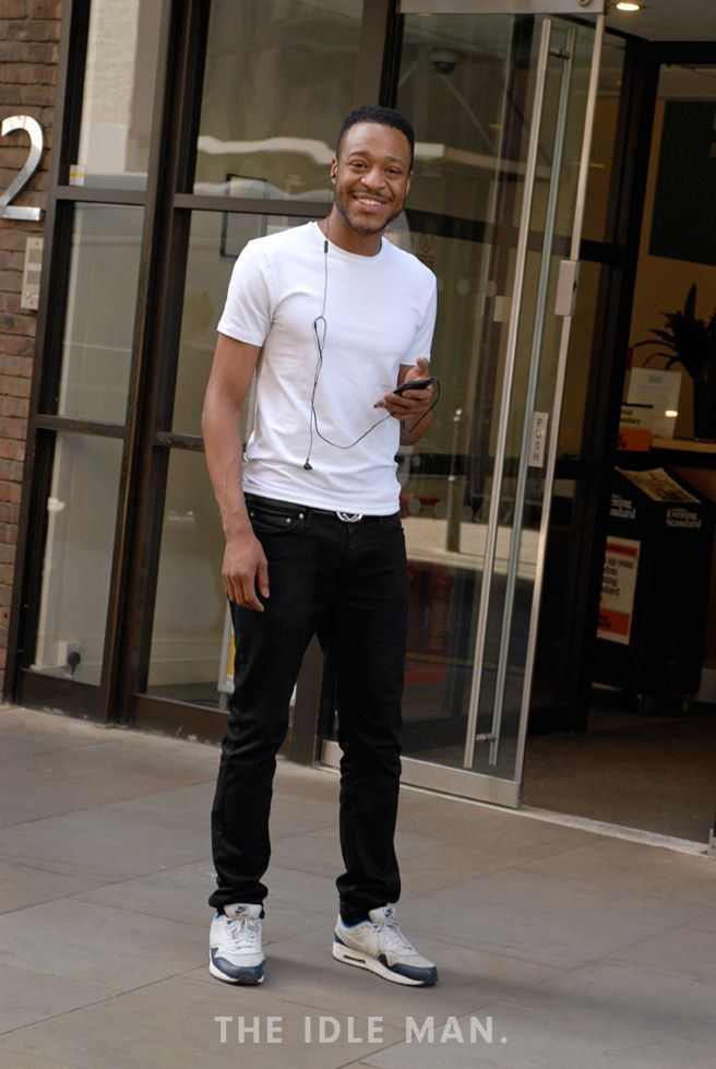 Minimal Feat. Trainers   Love this minimal style with black skinny jeans and white T-shirt. Add your own personal flare with some fun trainers.   Shop men's clothing at The Idle Man